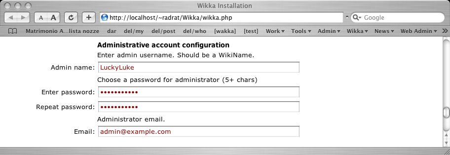 Wikka Installation Screenshot